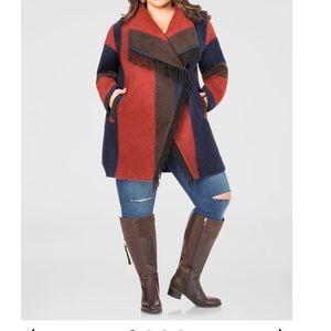Ashley Stewart Ombre Fringe Wrap Coat